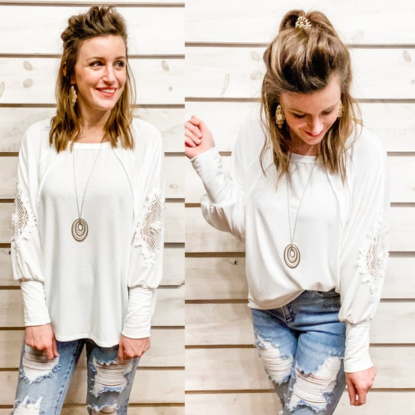 Ivory  Lace and Crochet Arm Detail Top