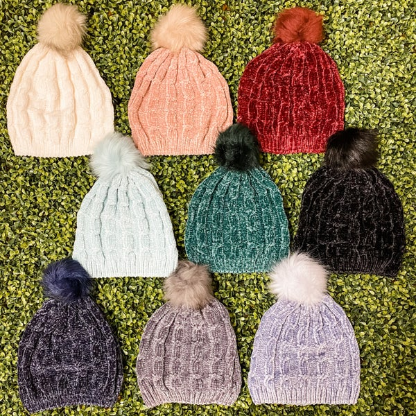 Super Soft Chenille Beanie with Pom *Final Sale*