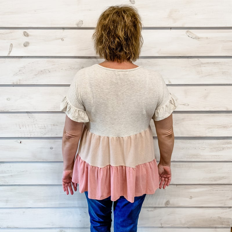 Taupe Tiered Babydoll Top