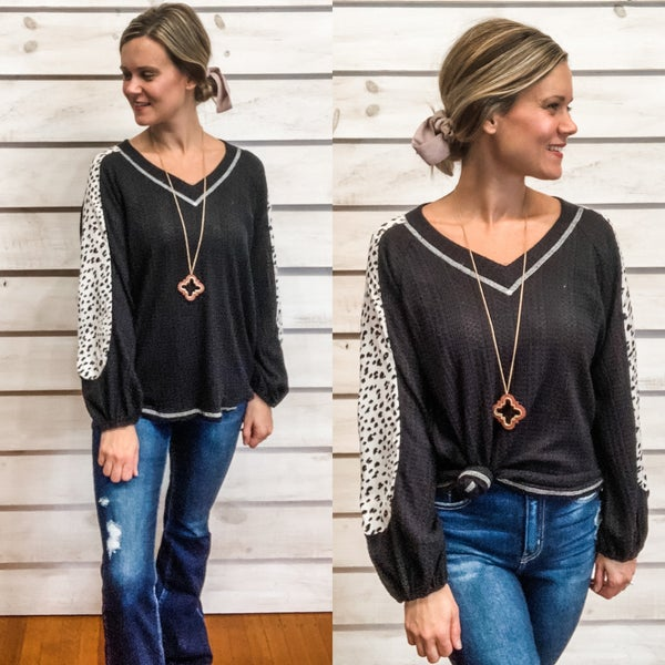 Black Balloon Sleeve Top with Animal Print Detail