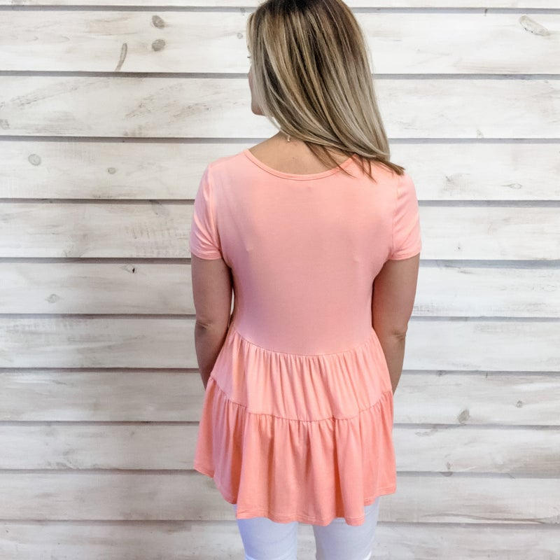 Coral Tiered Babydoll Top