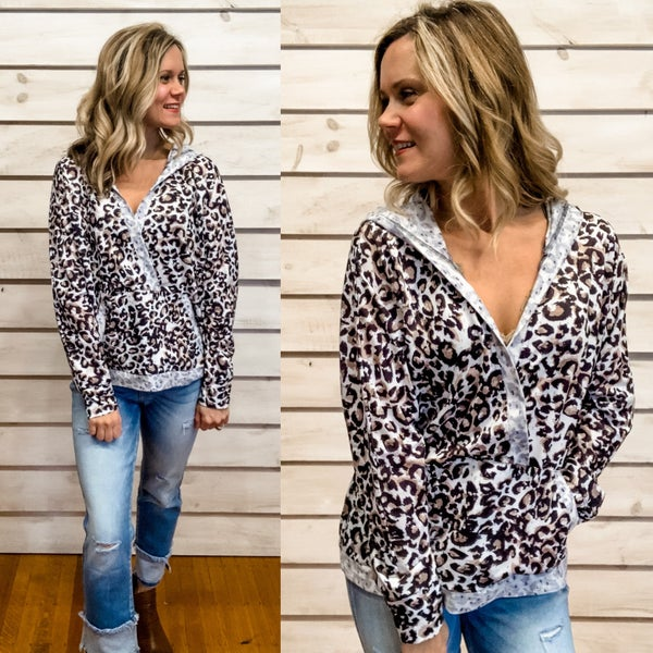 Animal Print Hoodie with Overlapped Front