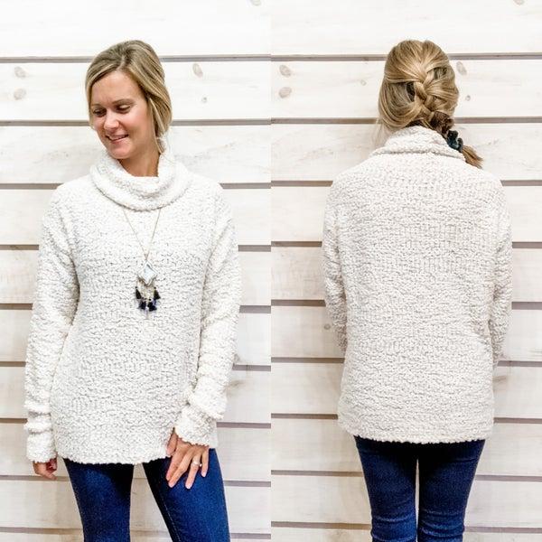 Popcorn Texture Turtle Neck Sweater