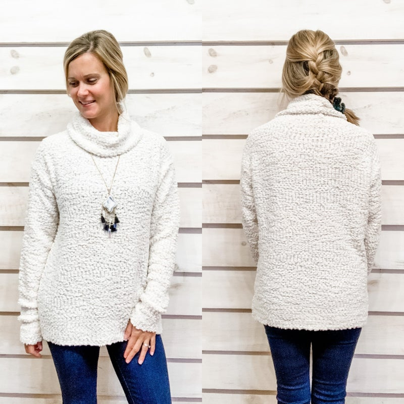 Popcorn Texture Turtle Neck Sweater