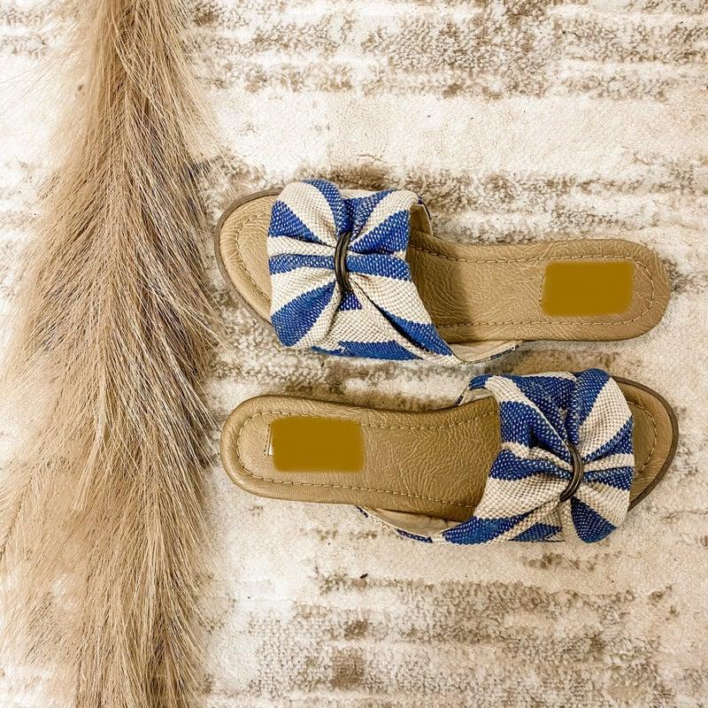 Navy and Tan Jute Slide On Sandal