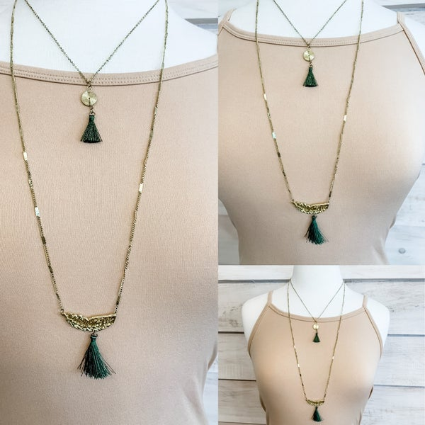 Charm and Tassel Statement Necklace
