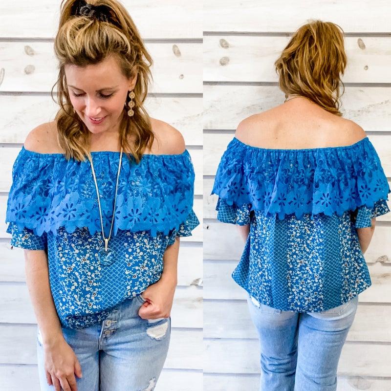 Teal Crochet Off Shoulder Top