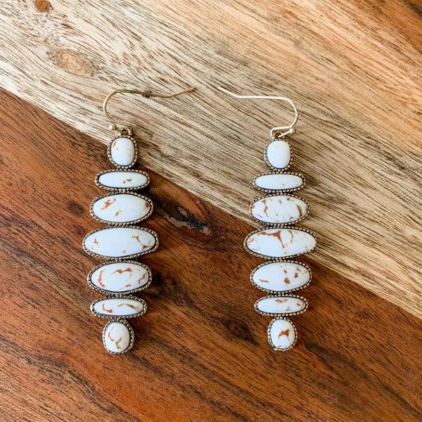 Cream Stone Boho Dangle Earrings