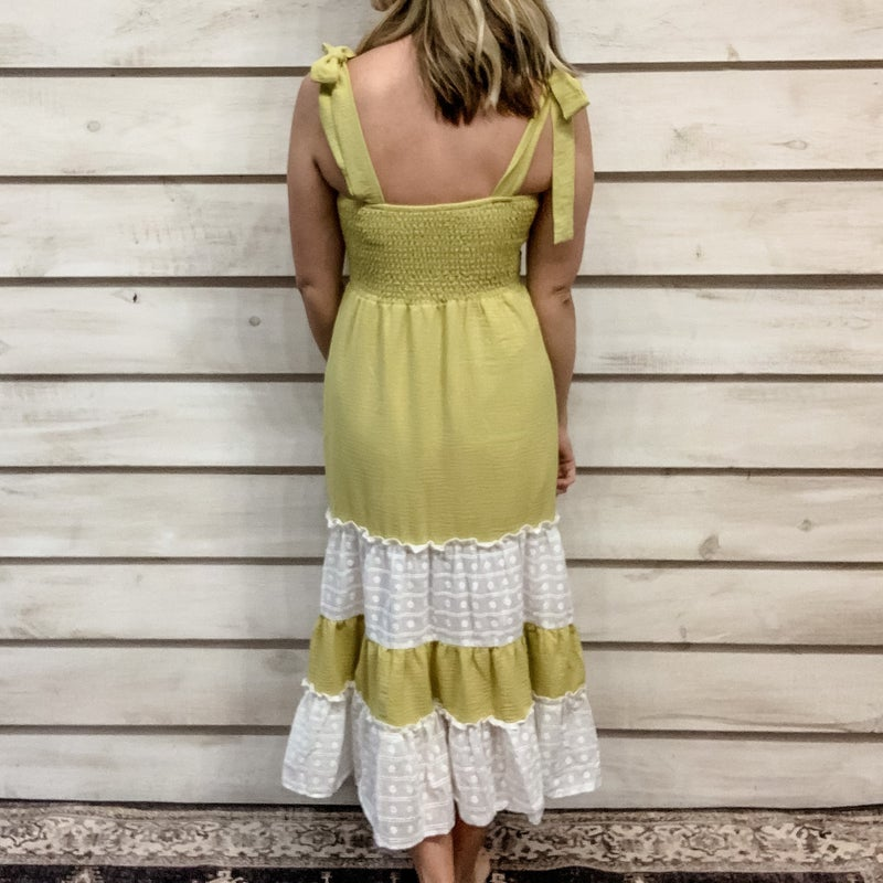 Lime Layered Ruffle Tie Dress