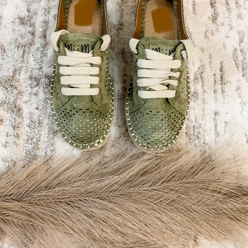 Olive Espadrille Laser Cut Sneakers