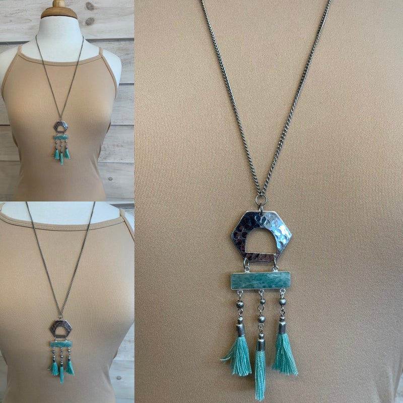 Silver Statement Necklace with Tassel