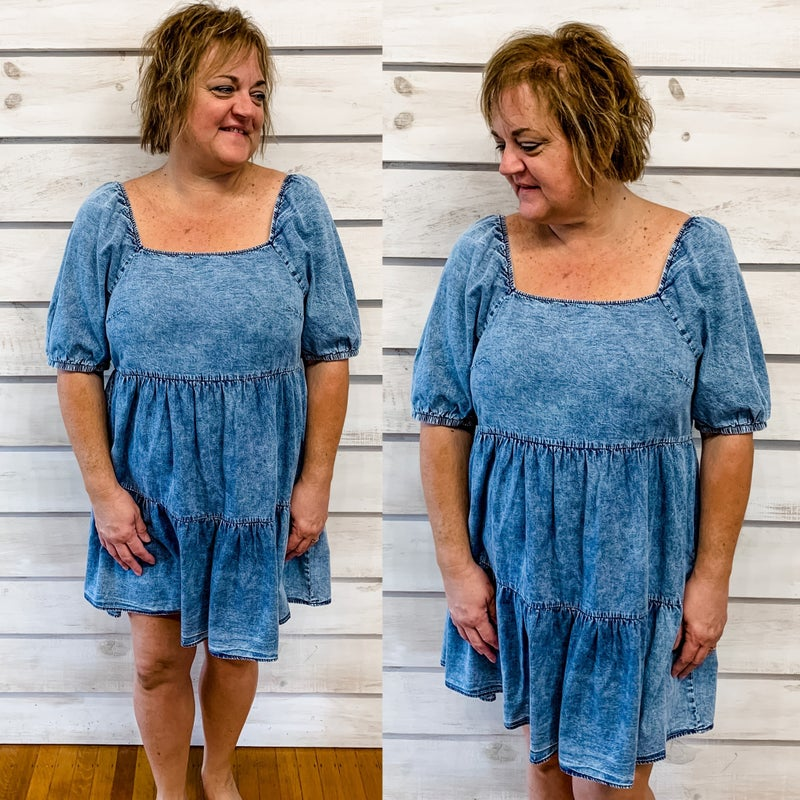 Denim Wash Tiered Dress