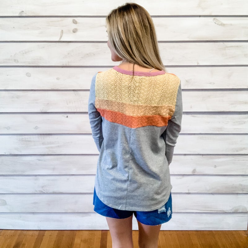 Grey Contrasting Texture and Color Top