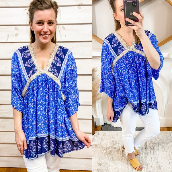 Blue Printed Boho Tunic Dress with Back Ties