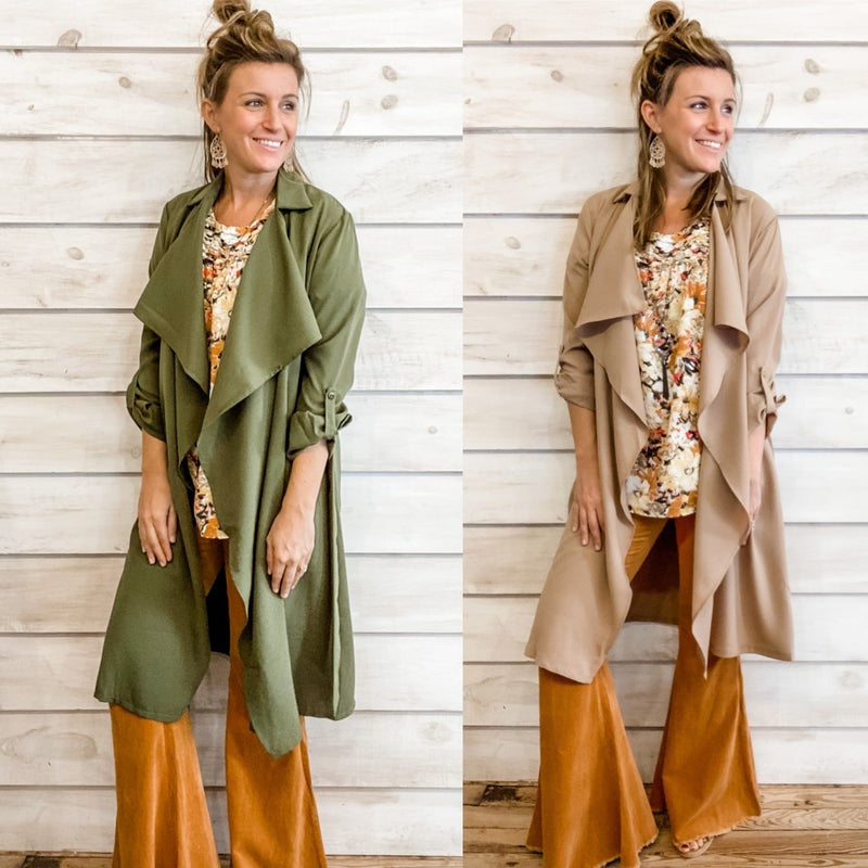 Ruffle Front trench Coat