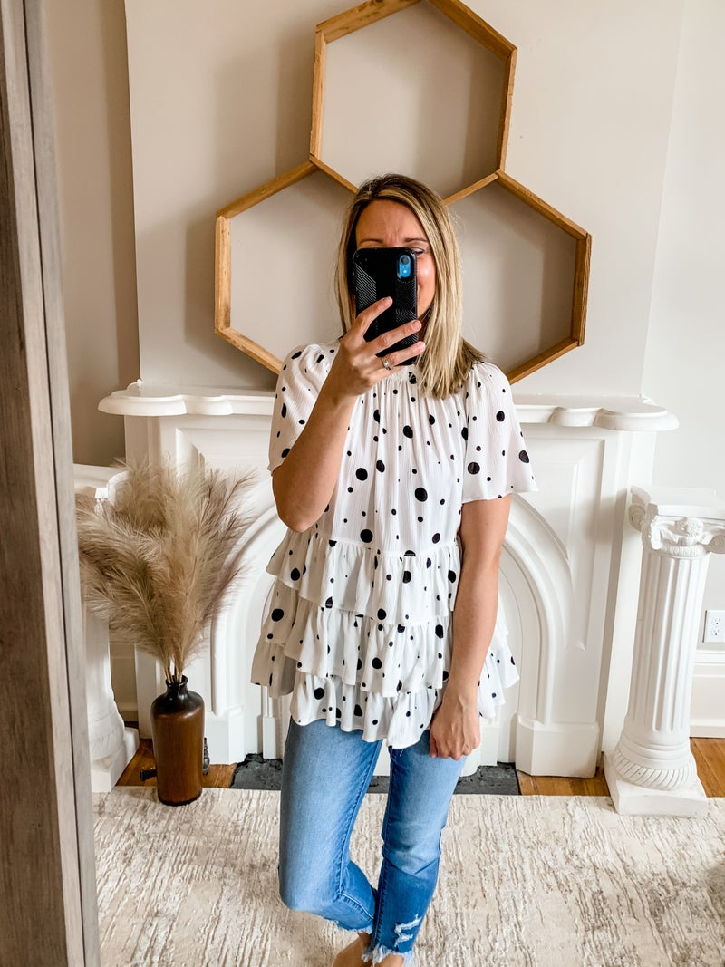 Ivory Polka Dot Tiered Top