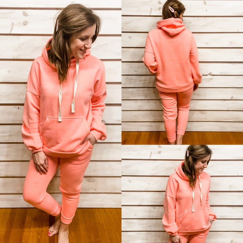 GAL-entine's DOORBUSTER! Bright Pink Hoodie and Jogger Set