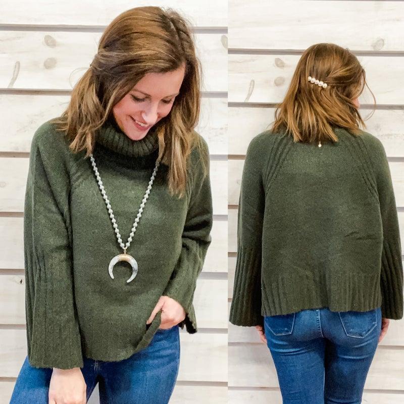 Hunter Green  Cowl Neck Sweater