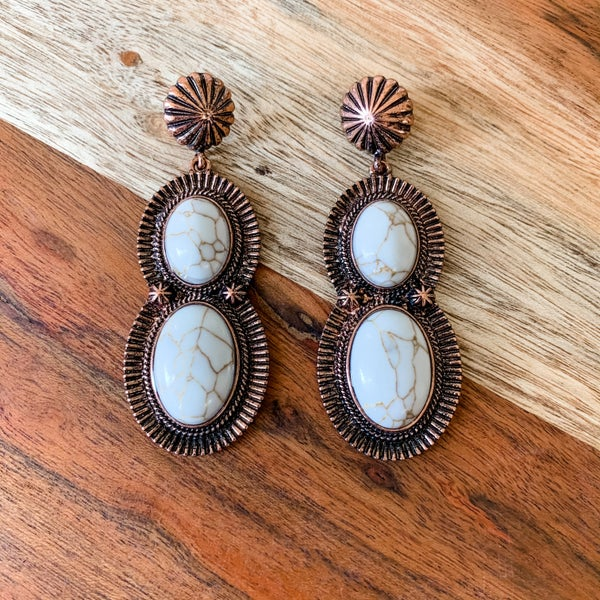 Cream Large Stone Drop Boho Earrings