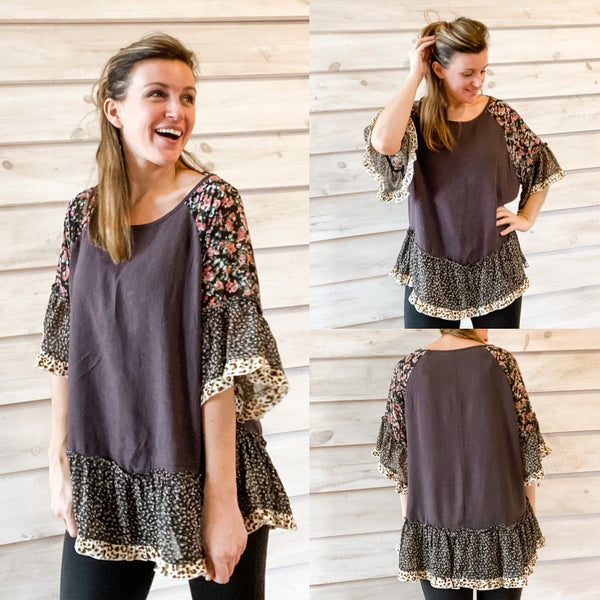 Charcoal Boho Top with Mixed Print Sleeves