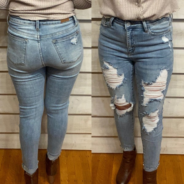 Distressed Skinny Cuff Jeans
