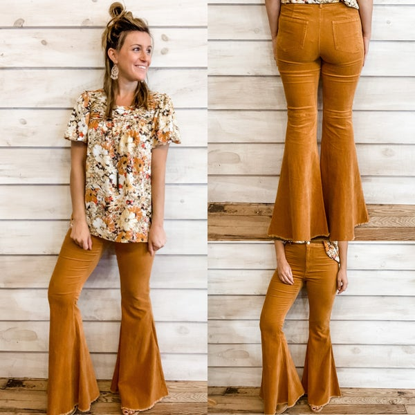 Pumpkin Bell Bottoms with Frayed Hem