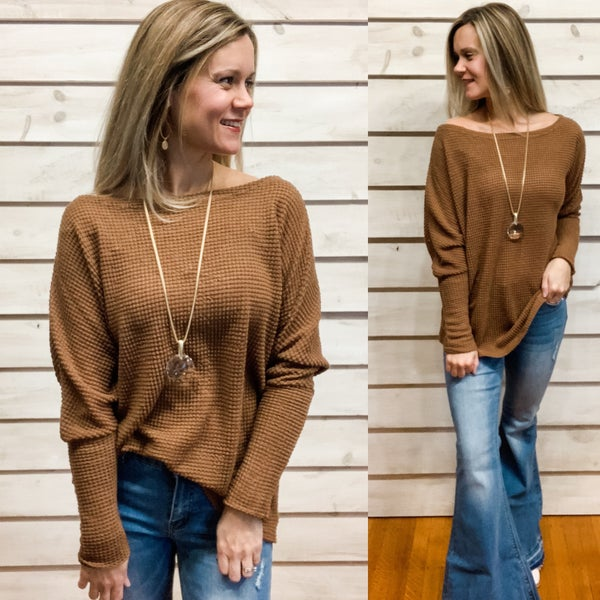 Brown Slouchy Waffle Top