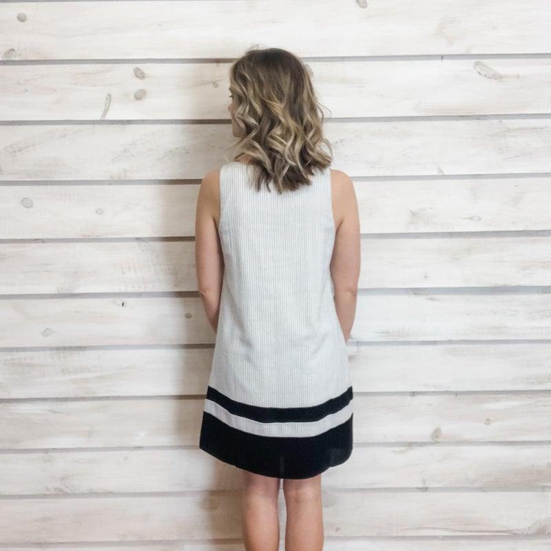 Black Color Block Striped Dress