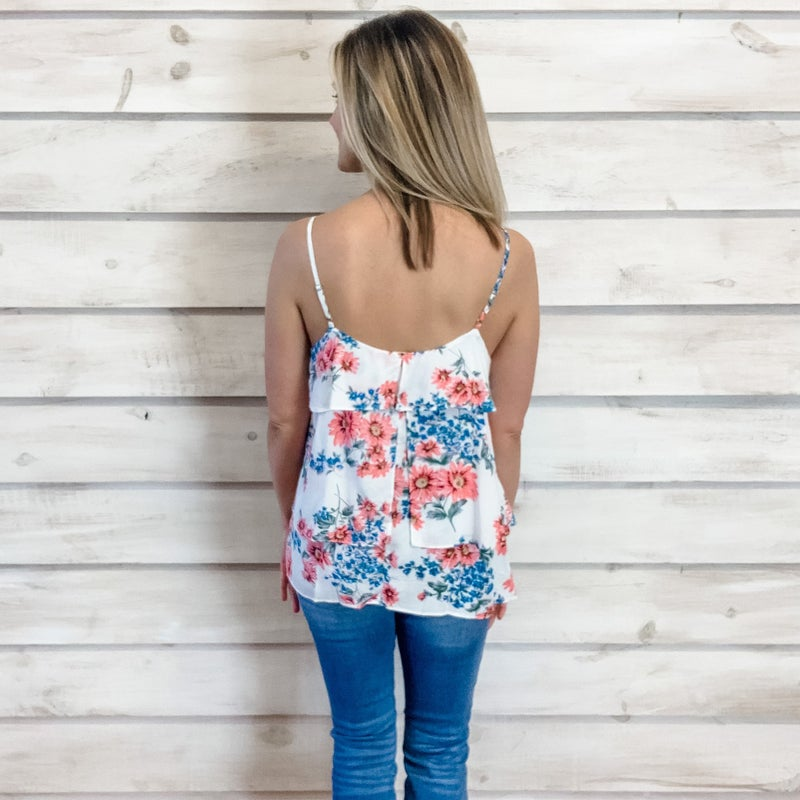 Off White Floral Layer Tank