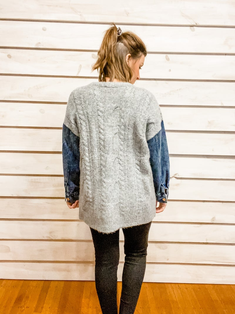 Grey Open Front Cardigan with Denim Sleeves