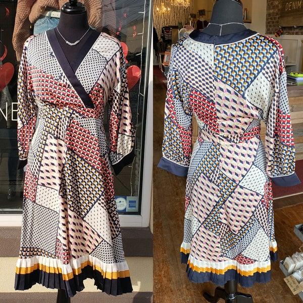 Patchwork Mix Print Midi Dress