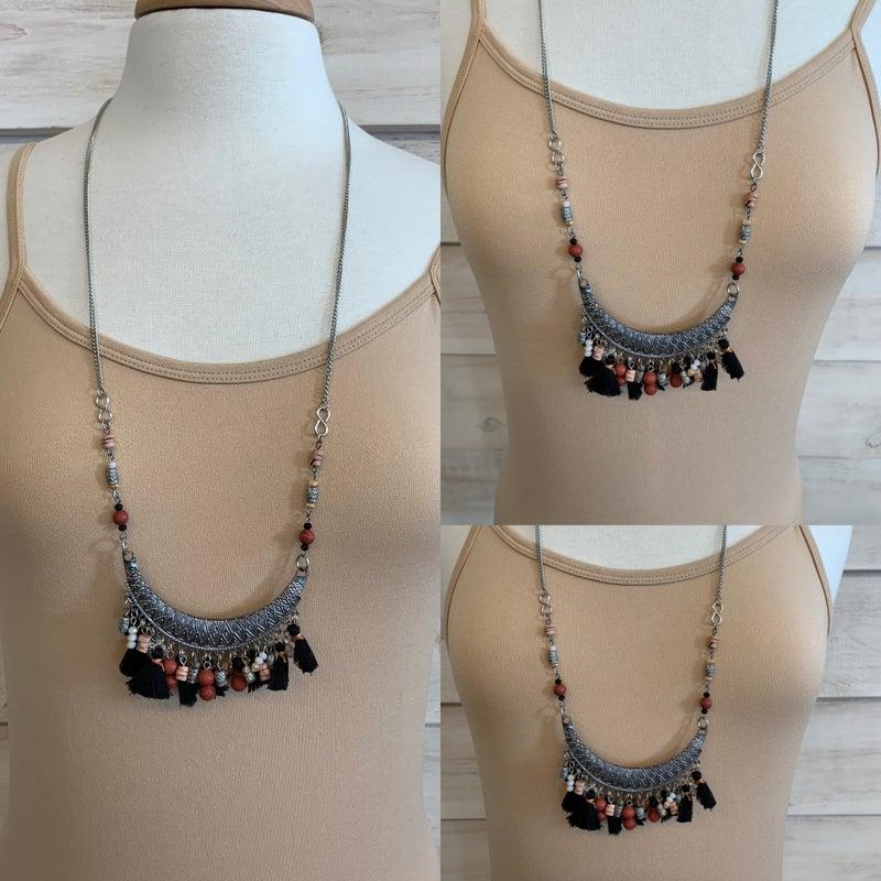 Silver Beaded Tassel Necklace