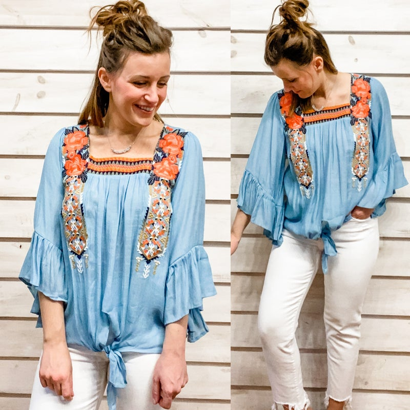 Blue Bell Sleeve Top with Floral Embroidery