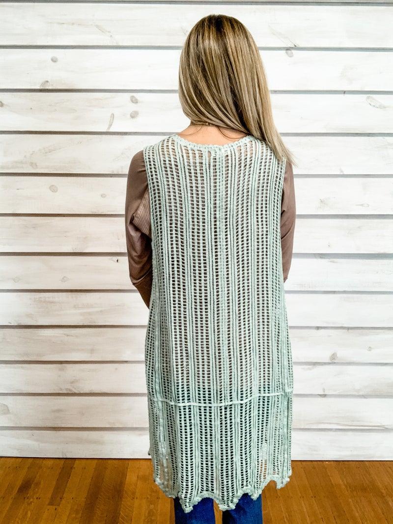 Sage Crochet Midi Vest