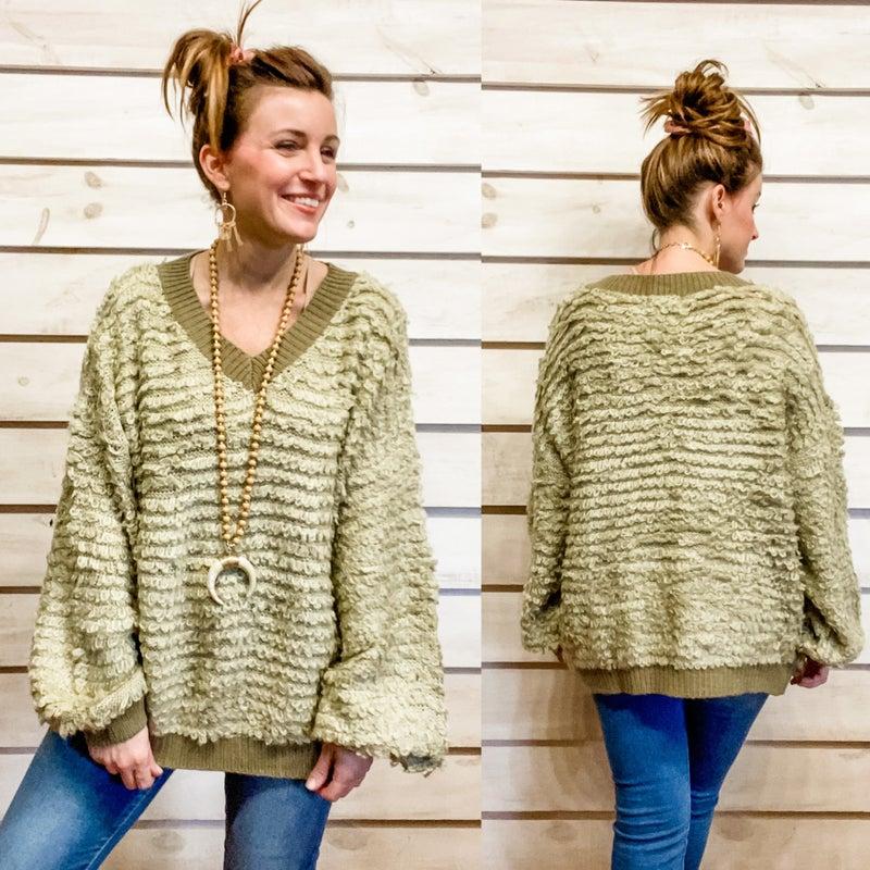 Cozy Sage Textured Sweater *Final Sale*