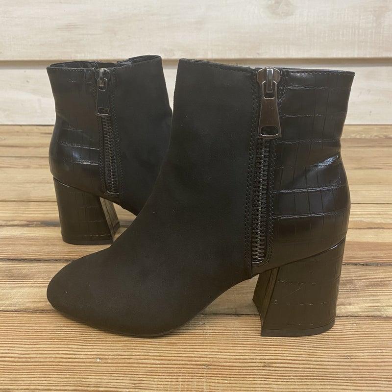 Black Block Heel Booties with Texture and Suede *Final Sale*