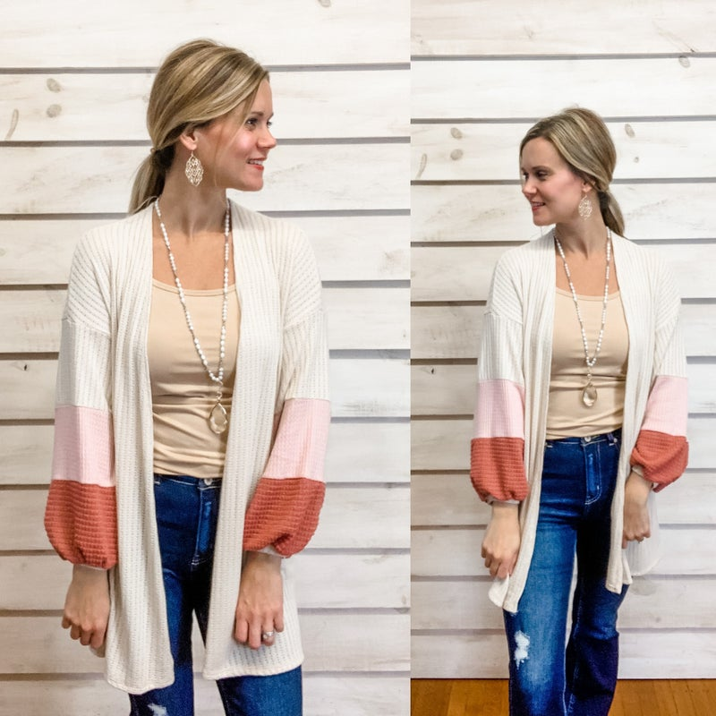 Color Block Open Front Lightweight Cardi