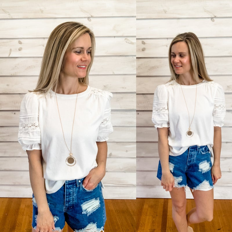 White Lace Balloon Sleeve Top