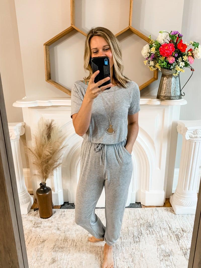 Grey Wide Neck Jumpsuit