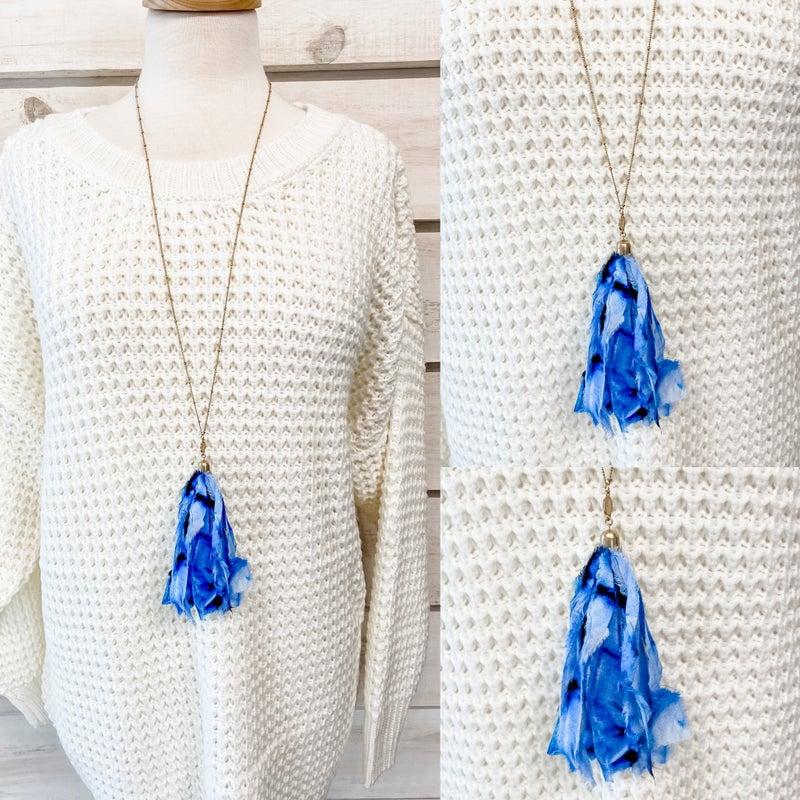 Blue Tie Dye Tassel Necklace