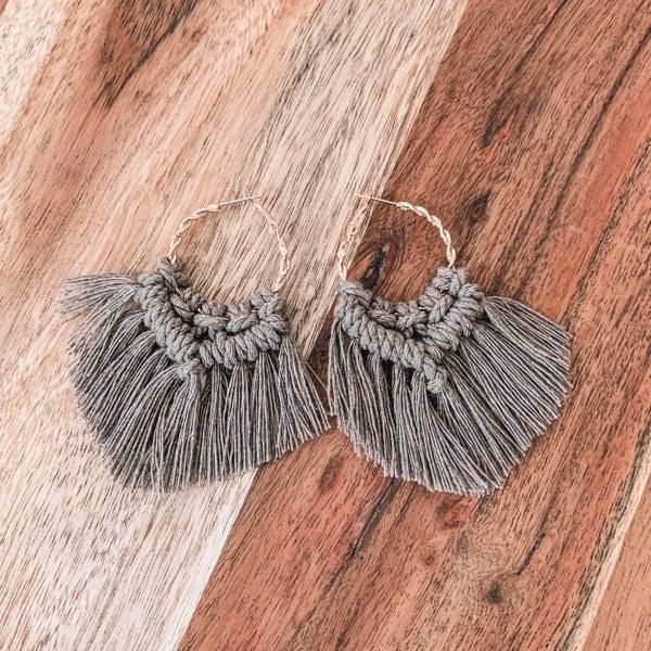 Mocha Macrame Boho Earrings