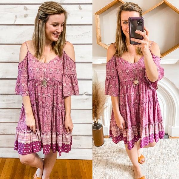 Purple Printed Cold Shoulder Boho Dress