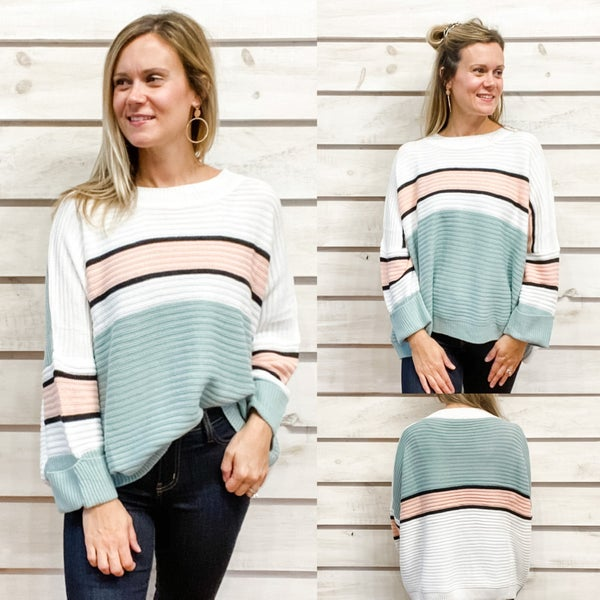 Soft Mint and Rose Striped Sweater