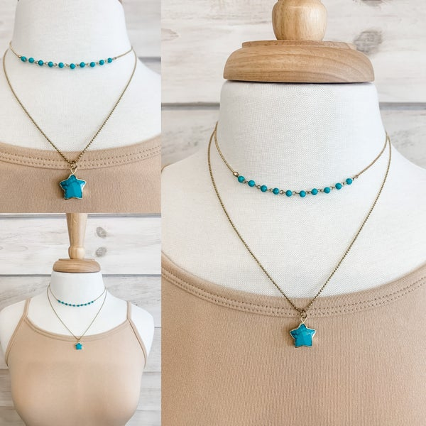 Turquoise and Gold Charm Detail Necklace