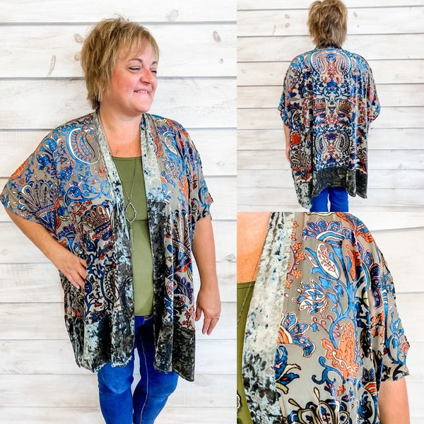 Olive Print Velvet Kimono *Final Sale*