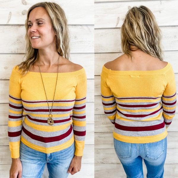 Yellow Multi Stripe Off Shoulder Sweater *Final Sale*