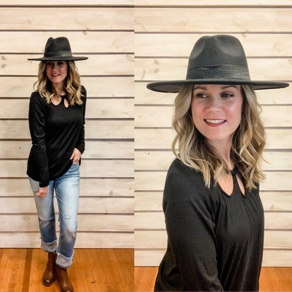 Black Stiff Brim Hat *Final Sale*