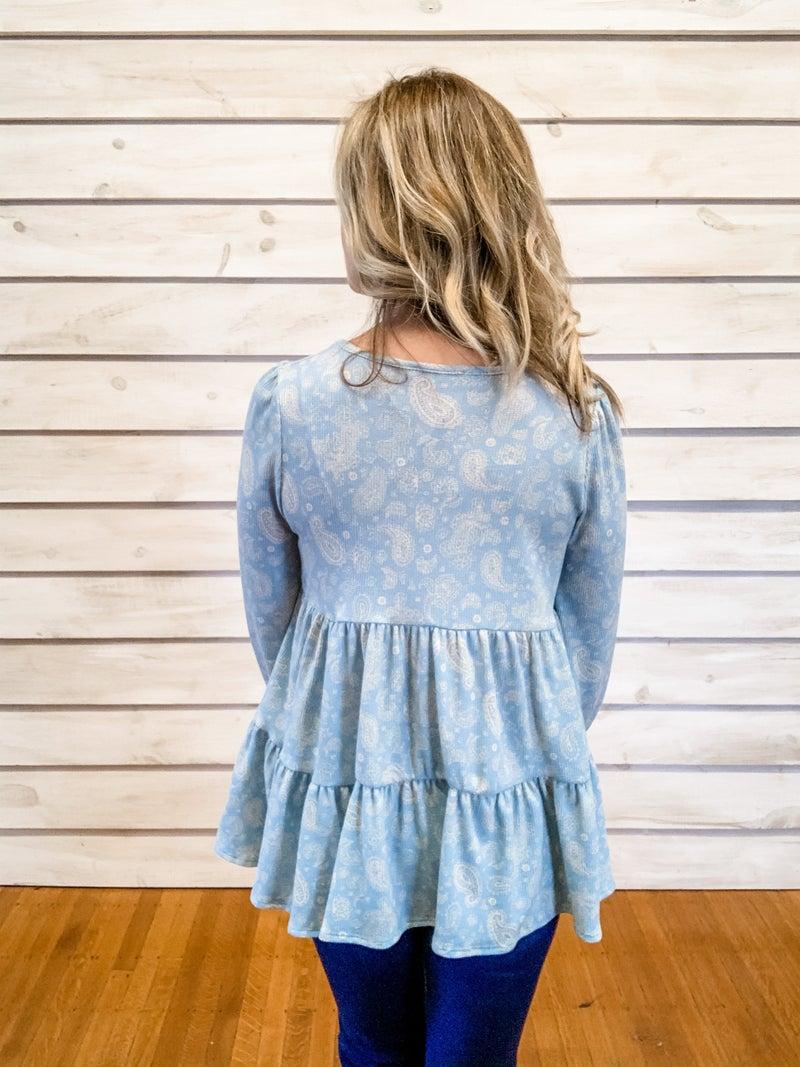 Blue Paisley Babydoll Top