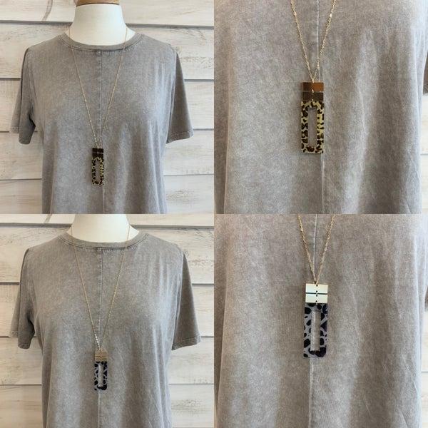 Oblong Animal Print Necklace