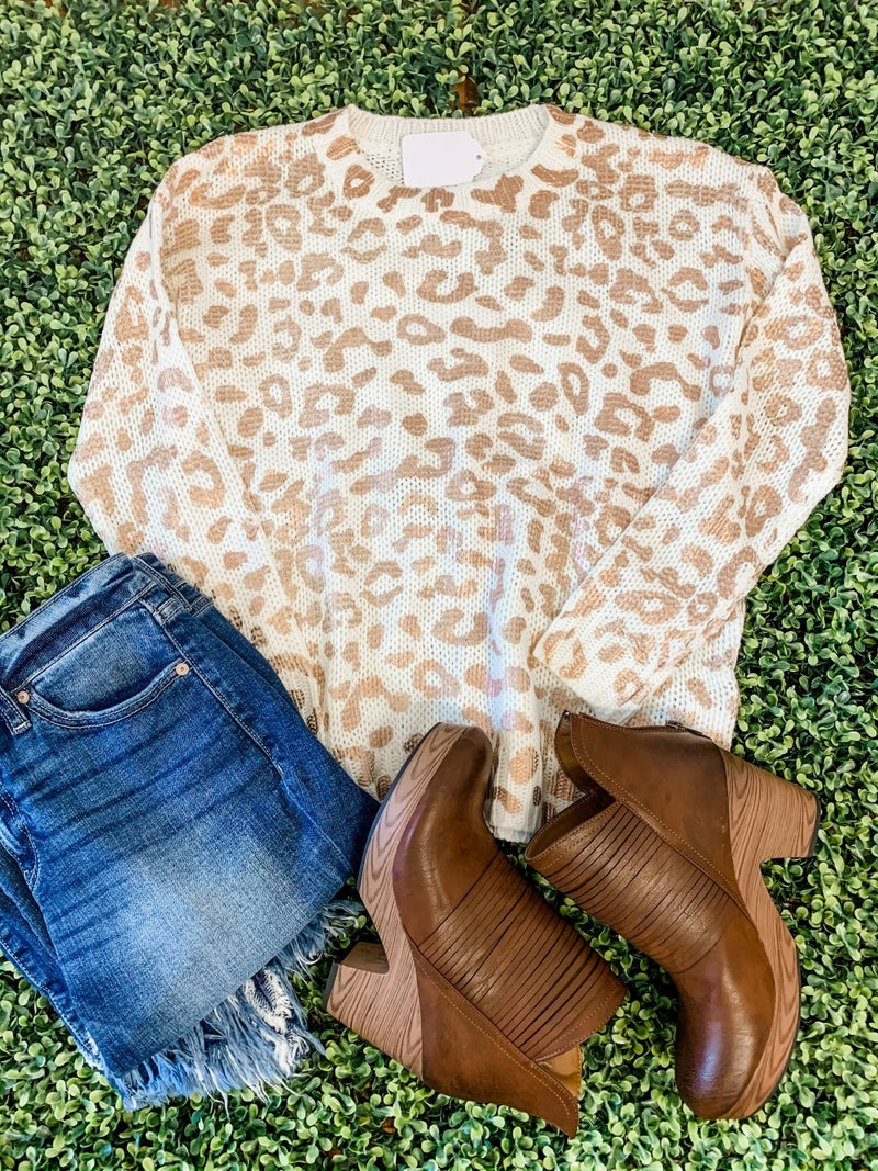Ivory Sweater with Rose Gold Animal Print